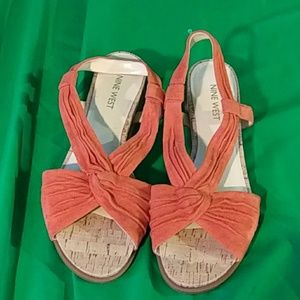 Nine west burnt orange suede sandals sz 7M